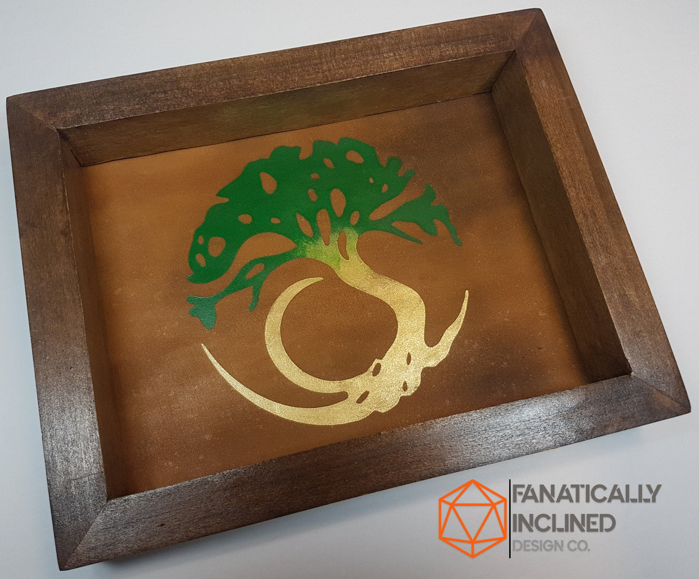 Tree of Life Handmade Pine Wood and Leather Dice Tray