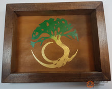 Load image into Gallery viewer, Tree of Life Handmade Pine Wood and Leather Dice Tray