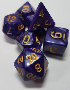 Flayers Heart Purple Pearlescent 7pc Dice Set