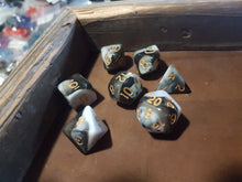 Load image into Gallery viewer, Black Berries and Cream w/Gold 7pc Dice Set