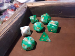 Limes and Cream w/Gold 7pc Dice Set