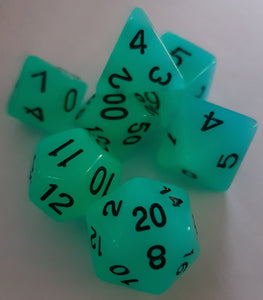 Blue Radiant Glow In The Dark 7pc Dice Set