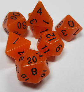 Orange Radiant Glow In The Dark 7pc Dice Set