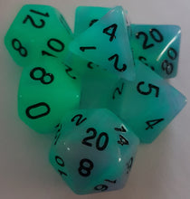 Load image into Gallery viewer, Blue Purple Double Radiant Glow In The Dark 7pc Dice Set