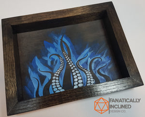 Blue Tentacles Handmade Oak Wood and Leather Dice Tray