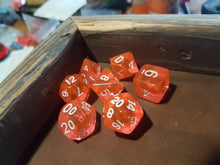 Load image into Gallery viewer, Peach Orange Prismatic Orb 7pc Dice Set