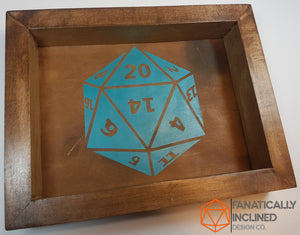 "Custom 9"" by 7"" Handmade Wood Oak Leather Dice Tray"