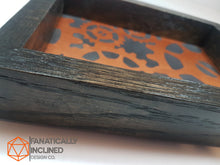 Load image into Gallery viewer, Copper Gears Steampunk Handmade Oak Wood and Leather Dice Tray