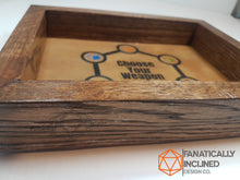 Load image into Gallery viewer, Choose your Weapon Handmade Oak Wood and Leather Dice Tray