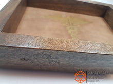 Load image into Gallery viewer, Cleric Caduceus Pine Handmade Wood and Leather Dice Tray