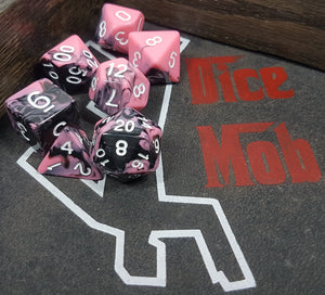 Pink and Black w/White 7pc Dice Set