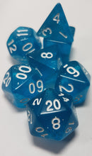 Load image into Gallery viewer, Light Blue Glittery 7pc Dice Set