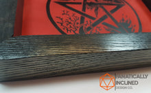 Load image into Gallery viewer, Red Elemental Pentacle Handmade Oak Wood and Leather Altar Tray
