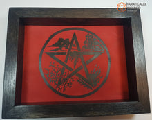 Load image into Gallery viewer, Red Elemental Pentacle Handmade Oak Wood and Leather Dice Tray