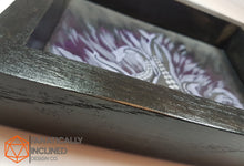 Load image into Gallery viewer, Purple Tentacles Handmade Oak Wood and Leather Dice Tray