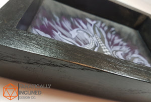 Purple Tentacles Handmade Oak Wood and Leather Dice Tray