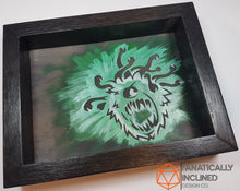 Load image into Gallery viewer, Beholder Green Handmade Oak Wood and Leather Dice Tray