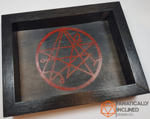 Load image into Gallery viewer, Elder Sign Necronomicon Handmade Wood Oak and Leather Dice Tray