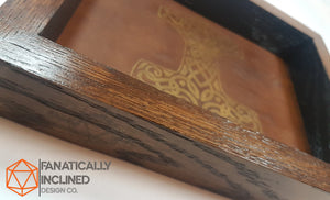 Mjolnir Thor's Hammer Handmade Oak Wood and Leather Dice Tray