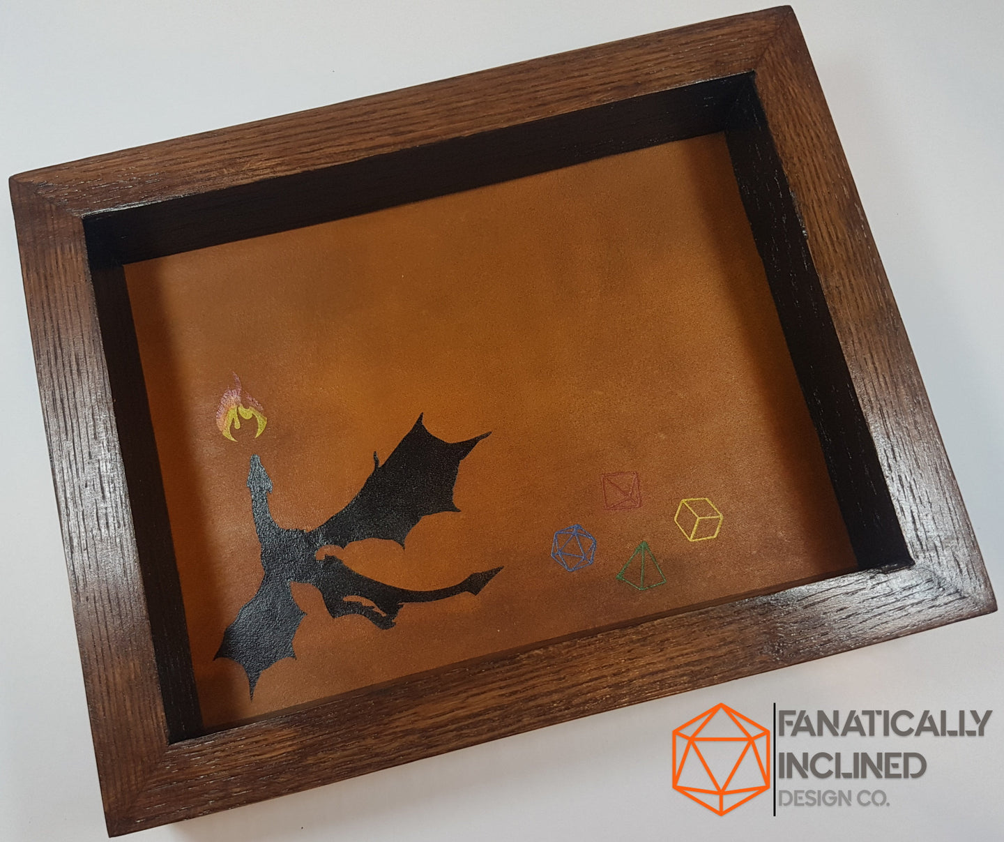 Flying Dragon Oak Handmade Wood and Leather Dice Tray
