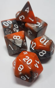 Glowing Embers Orange and Charcoal w/White 7pc Dice Set