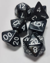 Load image into Gallery viewer, Black Ore Pearlescent 7pc Dice Set