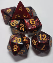 Load image into Gallery viewer, Red and Black w/Gold 7pc Dice Set