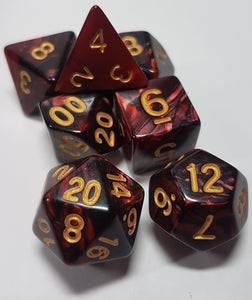 Red and Black w/Gold 7pc Dice Set