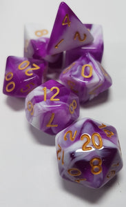 Purple Grapes and Cream w/Gold 7pc Dice Set