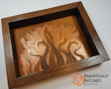 Load image into Gallery viewer, Steampunk Lovecraft Copper Tentacles Handmade Oak Wood and LeatherDice Tray
