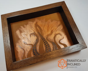 Steampunk Lovecraft Copper Tentacles Handmade Oak Wood and LeatherDice Tray