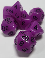 Load image into Gallery viewer, Purple Radiant Glow In The Dark 7pc Dice Set