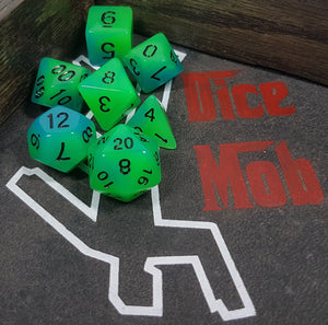Green Blue Double Radiant Glow In The Dark 7pc Dice Set