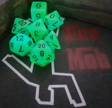 Load image into Gallery viewer, Green Blue Double Radiant Glow In The Dark 7pc Dice Set