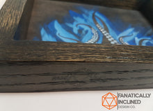 Carica l'immagine nel visualizzatore di Gallery, Blue Tentacles Handmade Oak Wood and Leather Dice Tray