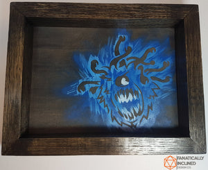 Blue Beholder Handmade Oak Wood and Leather Dice Tray