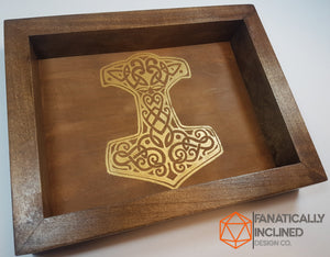 "Custom 11"" by 11"" Large Handmade Wood Oak Leather Dice Tray"