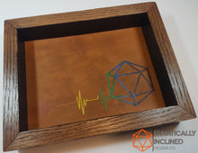 Load image into Gallery viewer, Rainbow Pride D20 Heartbeat Oak Wood and Leather Dice Tray