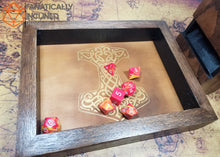 Load image into Gallery viewer, Mjolnir Thor's Hammer Handmade Oak Wood and Leather Dice Tray