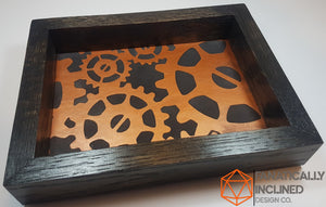 Copper Gears Steampunk Handmade Oak Wood and Leather Dice Tray