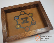Laden Sie das Bild in den Galerie-Viewer, Choose your Weapon Handmade Oak Wood and Leather Dice Tray