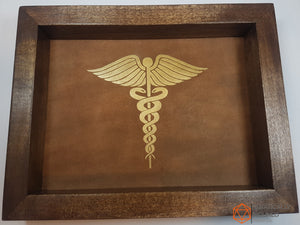 Cleric Caduceus Pine Handmade Wood and Leather Dice Tray