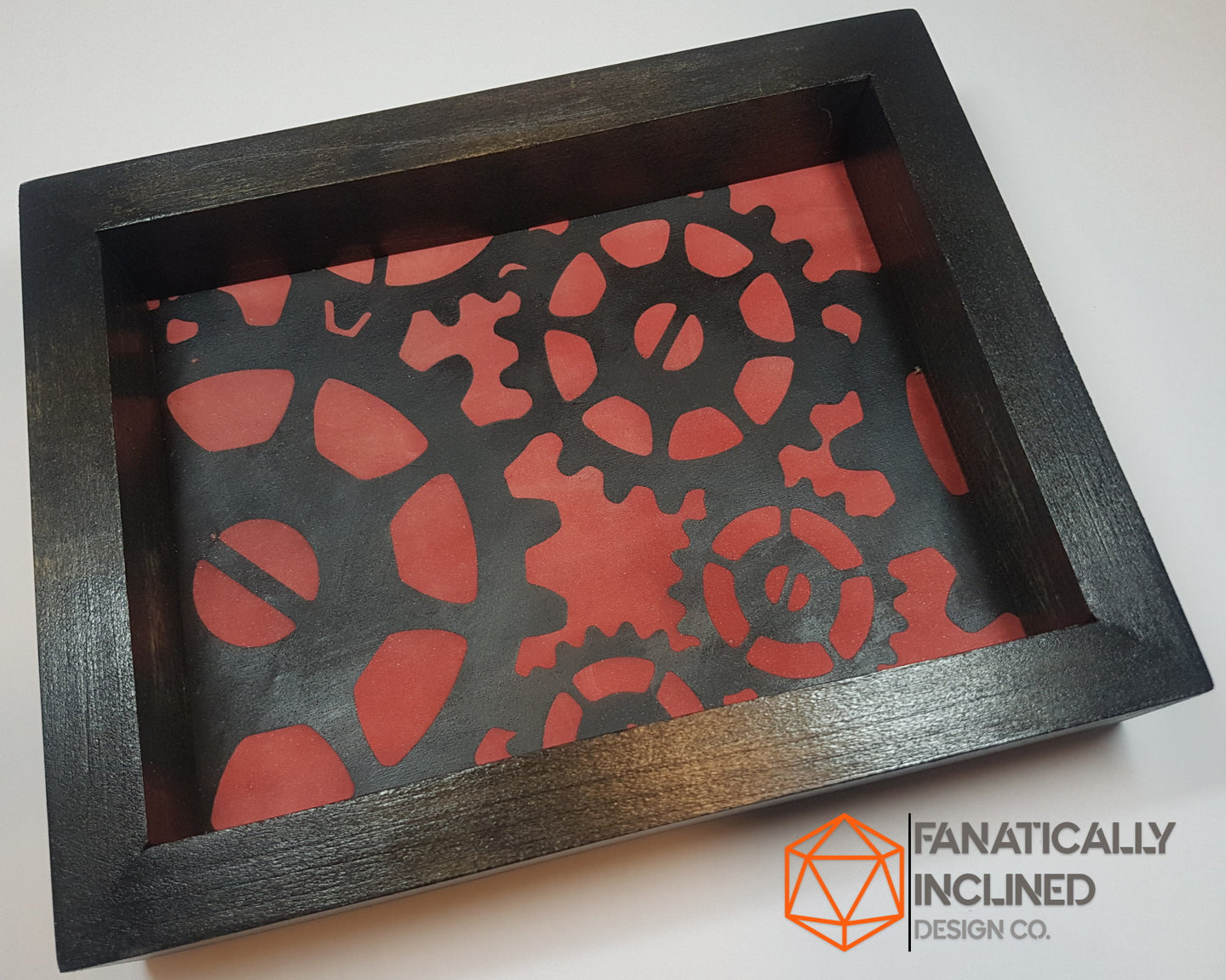 Red and Black Steampunk Gears Handmade Poplar Wood and Leather Dice Tray