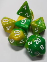 Load image into Gallery viewer, Yellow and Green w/White 7pc Dice Set