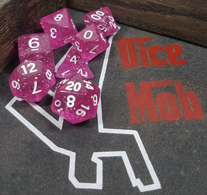 Magenta Glittery 7pc Dice Set