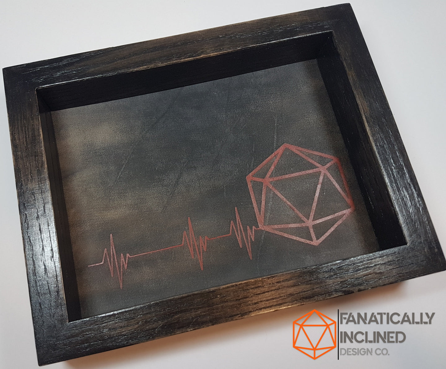 D20 Heartbeat Handmade Oak Wood and Leather Dice Tray