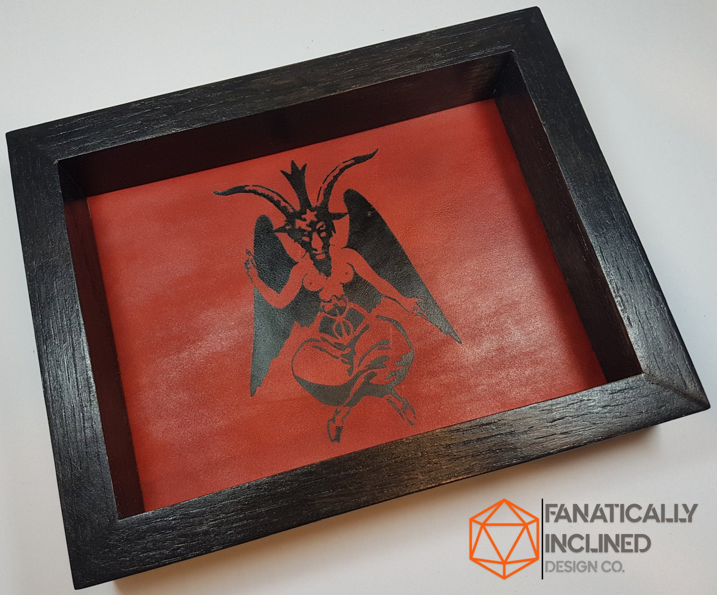 Baphomet Handmade Oak and Leather Dice Tray