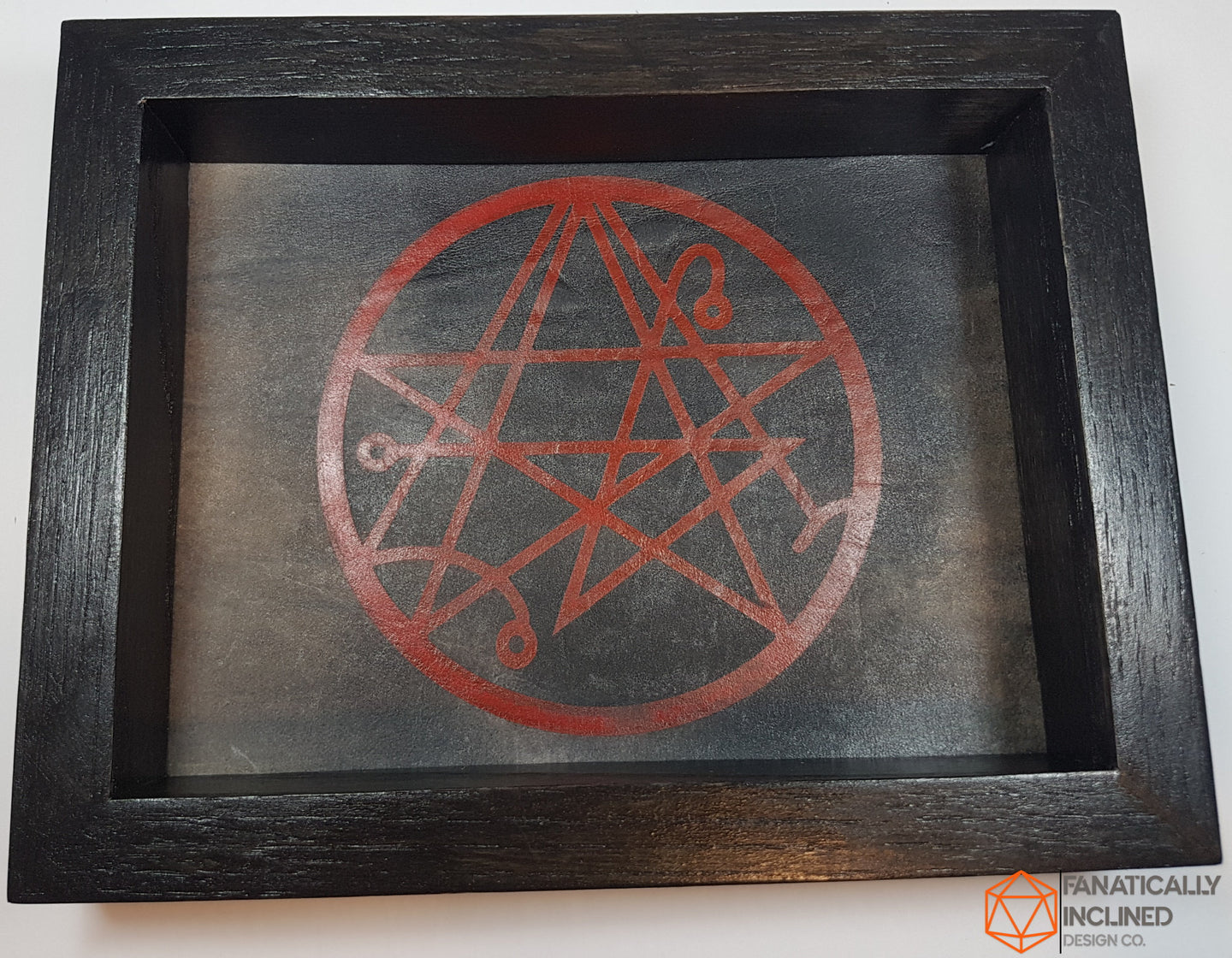 Elder Sign Necronomicon Handmade Wood Oak and Leather Dice Tray