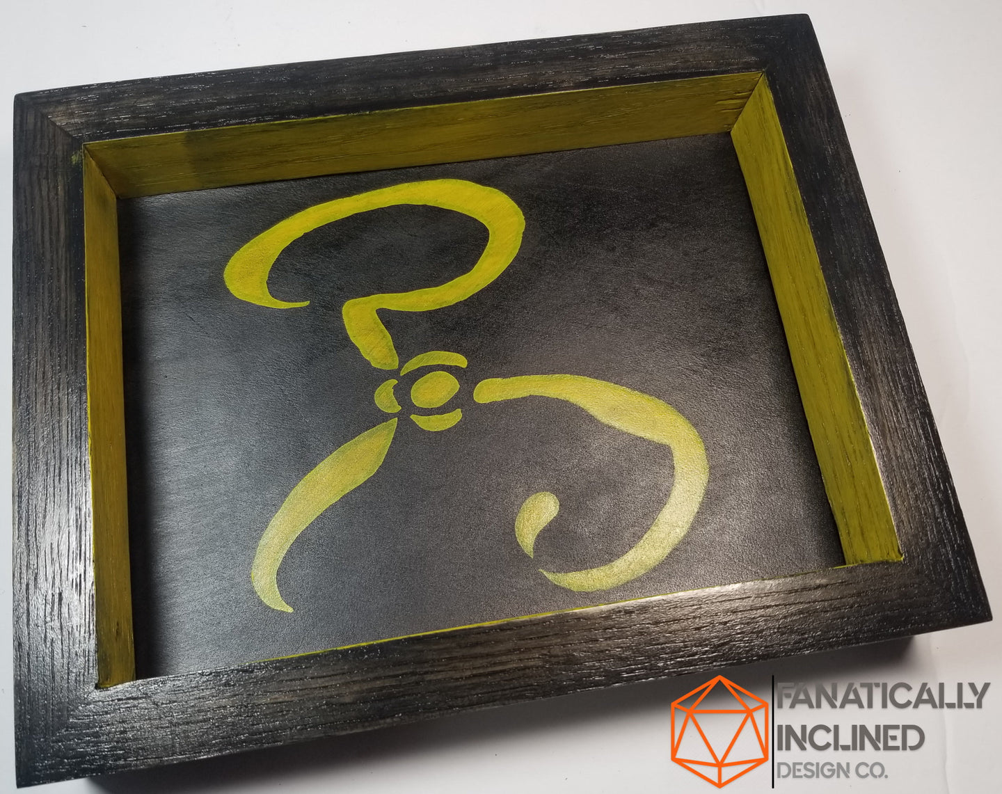 Yellow Sign Hastur Handmade Oak Wood Leather Dice Tray