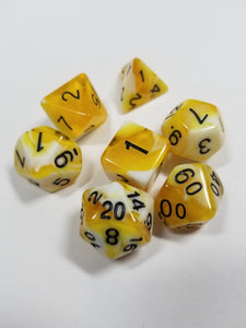 Yellow Lemon and Cream w/Gold 7pc Dice Set